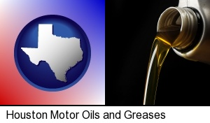 Houston, Texas - pouring motor oil, on a black background
