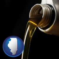 illinois pouring motor oil, on a black background