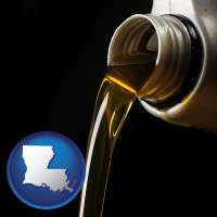 louisiana pouring motor oil, on a black background