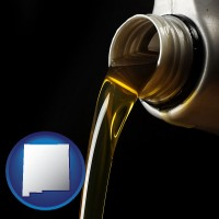 new-mexico pouring motor oil, on a black background