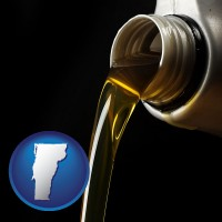 vermont pouring motor oil, on a black background