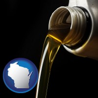 wisconsin pouring motor oil, on a black background