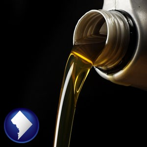 pouring motor oil, on a black background - with Washington, DC icon